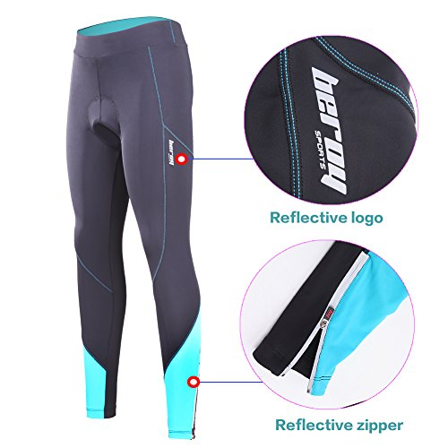 beroy Women 3D Padded Cycling Pants with Adjust Drawstring,Ladies Compression Tights Bike Pants(S Blue) by beroy (Image #3)