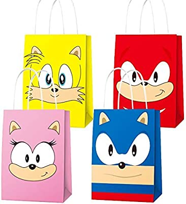 16 Pcs Party Paper Bags For Sonic Party Supplies Favor Goody Candy Bags Treat Bags For Sonic Inspired The Hedgehog Birthday Party Supplies Kids Adults Birthday Party Decora 4 Patern Buy Online