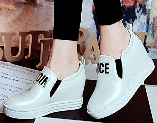 La Mode Des Femmes Didifu Intensifent Des Baskets Compensées De Talon Bas Plat Bout Rond Glissent Sur Des Chaussures De Plate-forme Blanc