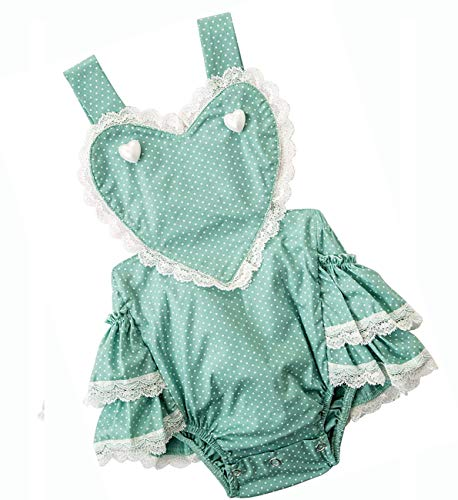 Baby Girl Romper Ruffle Butt Dots Print Outfit Lace Clothes Sleeveless Bodysuit Backless Photoshoot Onesies Party Infant Jumpsuit Summer Sunsuit Heart Green 3-6 Months 3 6
