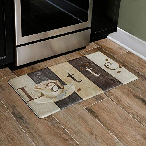 Amazon Com Home Dynamix Cook N Comfort Anti Fatigue Designer Kitchen Mat Modern Latte Sign Themed Non Slip Stain Resistant Easy Clean 1 2 Inch Thick Comfort Chef Mat 19 6 X35 4 Dark Brown Home Kitchen