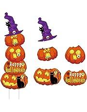 Gukasxi 5 Pack Halloween Gazon Yard Borden, Gestapelde Grote Pompoen Ghost Corrugate Yard Stakes Borden voor Outdoor Decoratie, Truc of Treat Props, Happy Halloween Pompoen Ghost Gazon Decoratie