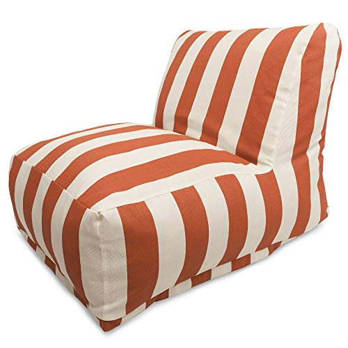 Majestic Home Goods Burnt Orange Vertical Strip Bean Bag Chair Lounger