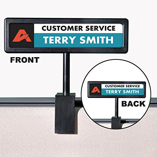 (Advantus 75334 People Pointer Cubicle Sign, Plastic, 9 x 2 1/2, Black)