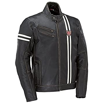 Chaqueta moto Syke Rider GP piel negra (52): Amazon.es ...