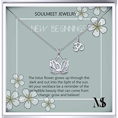 SOULMEET Sterling Silver Women Girls Lotus Flower Necklace, Yoga Necklace with Om Symbol for Birthday Anniversary Mother's Day