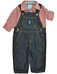 US Polo Assn Baby Boys Red Plaid Bodysuit 2pc Denim Overall Set (6/9M)