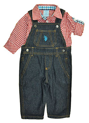US Polo Assn Baby Boys Red Plaid Bodysuit 2pc Denim Overall Set (3/6M)