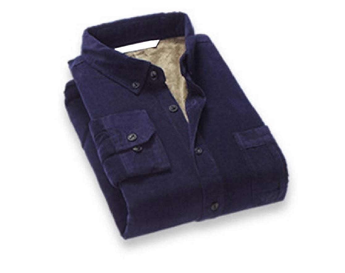 YUNY Men Solid Cotton Long Sleeves Plus Velvet Oxford Shirt 1 3XL