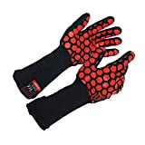 JH Safety Heat Resistant Oven Gloves: EN407 Certified Withstand 932 °F, Double Layers Silicone Coating, BBQ Gloves & Oven Mitts for Cooking, Kitchen, Fireplace, Grilling, 1 Pair, Extended Long Cuff