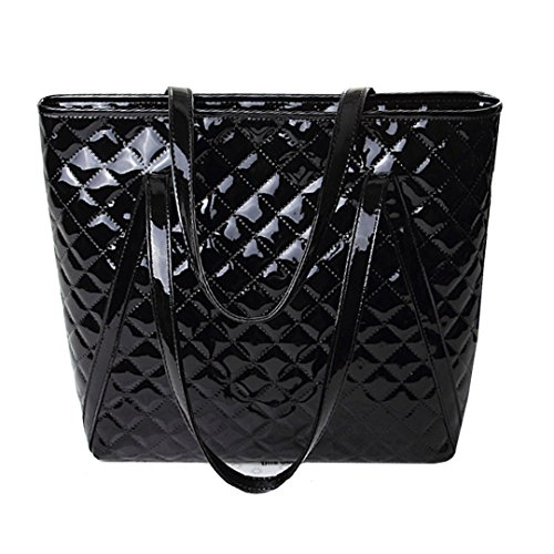 Buddy Top Handle Satchel Women Fashion Plaid Patent Leather Shoulder Bag Large Handbags Tote Single Bags (Black)