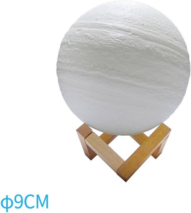 Diam/ètre:9cm PerGrate 3D impression LED nuit lumi/ère Jupiter LED lampe d/écoratif tableau boule /éclairage tactile contr/ôle luminosit/é charge pour chambre d/écoration maison