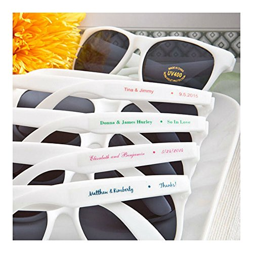 40 - Personalized White Sunglasses - Beach Themed Wedding and Party Favor - Sunglasses Personalized Plastic
