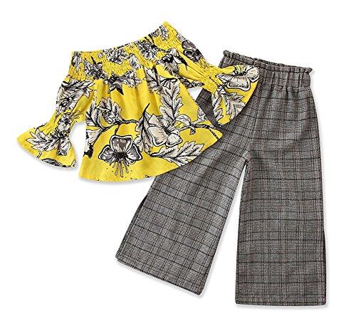 Kids Little Girls Off Shoulder Ruffle Floral Tops Plaid Bootcut Pants Outfit Set