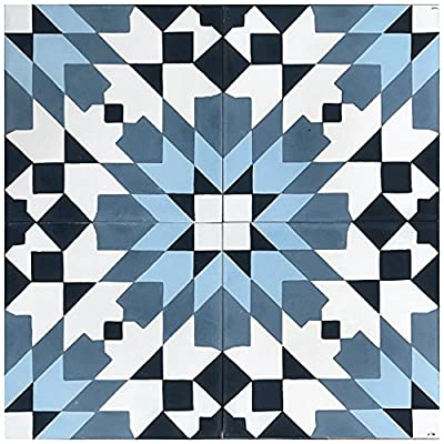 """Rustico Tile and Stone RTS22.1 Casablanca Blue Cement Pack of 13, 8"""" x 8, White/Black"""