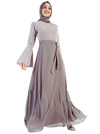 590aec89857 Turkish Muslim Modesty Evening Dress Long Sleeves Fully Lined Crew Neck (36)