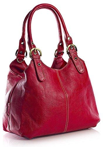 Big Handbag Shop, Borsa a mano donna Rosso (Rot - Kontrastfarbigen Nähten)
