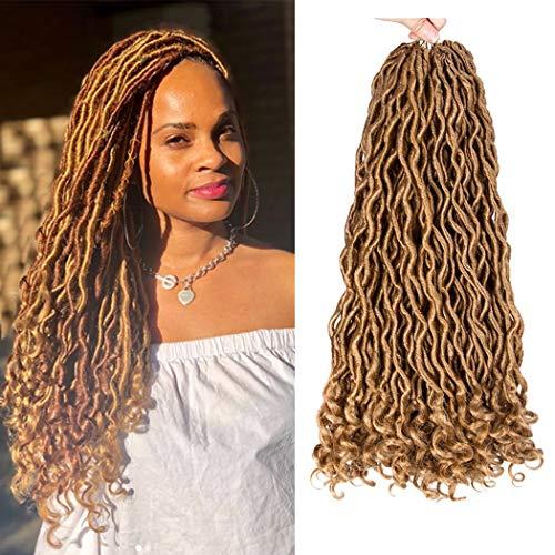 Dorsanee Curly Faux Locs Crochet Hair Deep Wave Goddess Loc Crochet Braiding Hair Synthetic Braids Hair Extension 18inch New Fashion Soft Blonde Hair Style(6packs,27#)