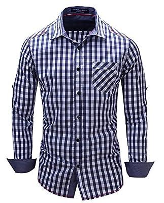 Musen Mens Cotton Plaid Long Sleeve Button Down Casual Dress Shirts