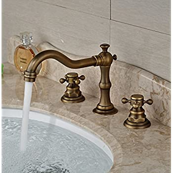 Rozin Antique Brass Widespread 3 Holes Bathroom Sink Faucet Dual ...