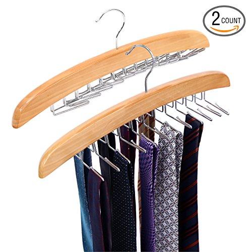 Ohuhu Wooden Tie Hanger Rotating Twirl 24 Ties Organizer Rack Hanger Holder Hook, 2 Pack