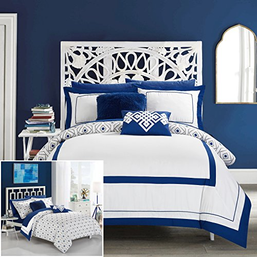 (Chic Home 9 Piece Beckham Contemporary Geometric Reversible Bold Lines Hotel Collection Bed in Bag, Blue )
