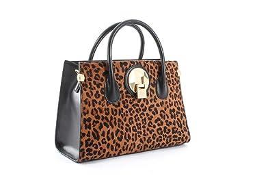 fa2d9b68bb62 Céline Dion Octave Leather Satchel (Black Leopard)  Handbags  Amazon.com