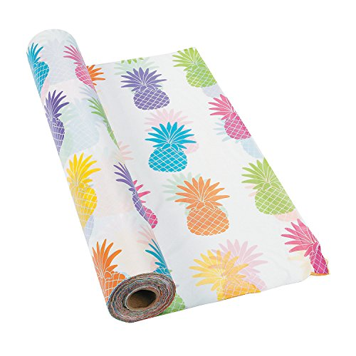 Bright Pineapple Tablecloth Roll 100 ft x 40