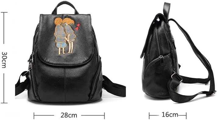 Travel Bag Simple Casual Shopping Backpack Travel Light Backpack Leather Bag Women Backpack Chinese Embroidery-Black