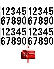 SAVITA 4 Vellen 40 Stuk Brievenbus Nummers Stickers Waterdicht Zelfklevende Stickers voor Brievenbus, Huis, Deur, Adresnummer, Binnen of Buiten (9,8 cm, Zwart)