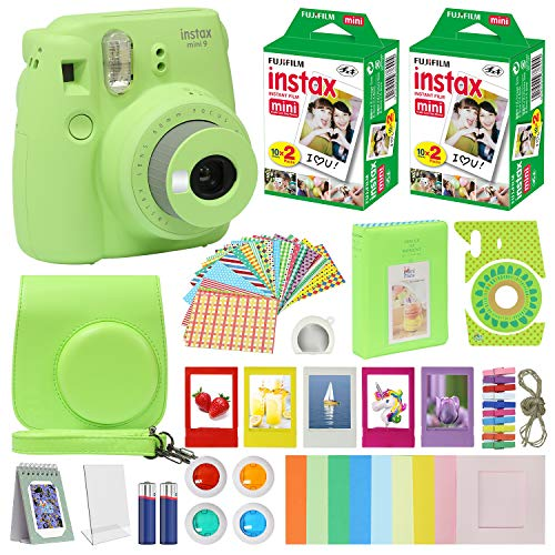 Fuji Film Instax Mini 9 Instant Camera Lime Green with Carrying Case + Fuji Instax Film Value Pack (40 Sheets) Accessories Bundle, Color Filters, Photo Album, Assorted Frames, Selfie Lens + More