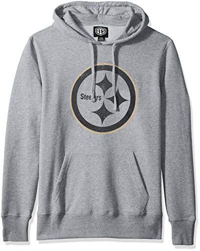 OTS NFL Pittsburgh Steelers Mens Fleece Hoodie, Distressed Iced, Medium