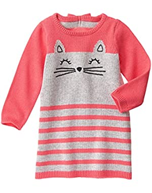 Baby Girls' Pink and Grey Kitten Sweater Dress