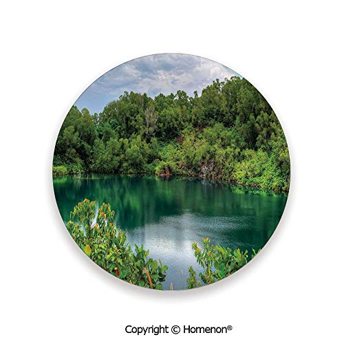 Pulau Ubin Singapore Lagoon Tropical Climate Rainforest Freshness Growth Lush,Hot Sale Coasters Protection From Drink Green Light Blue,3.9×0.2inches(4PCS),Ceramic Coasters Set With Cork Base]()