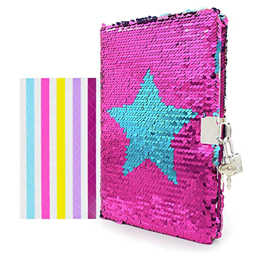 VIPbuy Magic Reversible Star Sequin Notebook Diary Lined Travel Journal with Lock and Key for Kids Girls, Size A5 (8.5