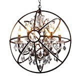 JINGUO Lighting Industrial LED Orb Loft Chandelier Pendant Light Wrought Iron Style Globe 6 Lights Ceiling Lamp Hanging Lighting with Shining Crystals Antique Bronze