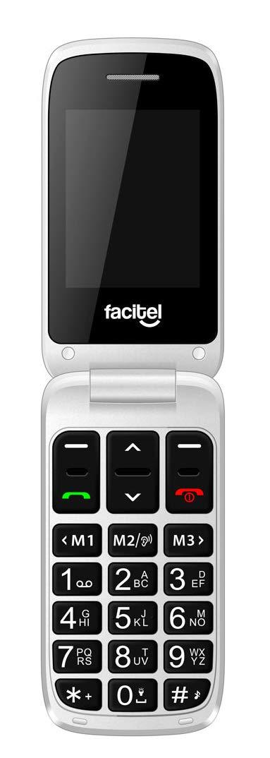 Tel/éfono m/óvil f/ácil Uso con Tapa Fucsia 2 Pantallas y Amplificador de Sonido Facitel FS26