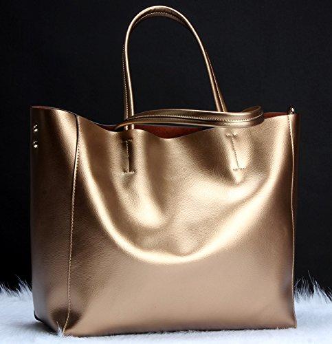 Capacidad Bolso De Cicongzai Dorado Moda Piel Dorado Mujer Mano Diseño Medium Para 2018 Gran UA55q6