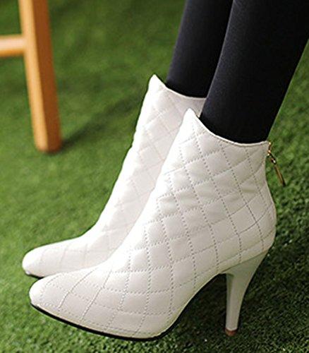Aisun Kvinna Mode Stilett Mid Häl Tossor Vita