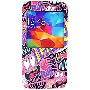 PEACH- Letter Pattern PU Leather Full Body Case for Samsung Galaxy S5 I9600