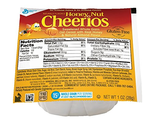 Cheerios Honey Nut Cereal, 1-Ounce Bowls (Pack of 96)