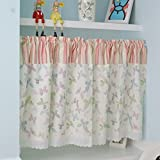 Multi-Butterfly Printed Window Curtain Valance Tier Pair Curtain Sheer Green Checked 55x24 Inch