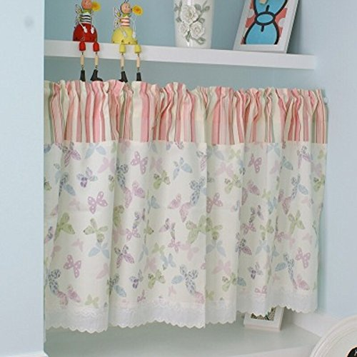 Baby Butterfly Window Valance - Multi-Butterfly Printed Window Curtain Valance Tier Pair Curtain Sheer Green Checked 55x24 Inch