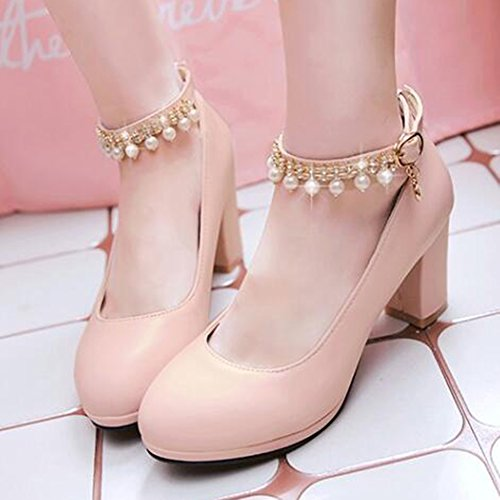 Shoes Womens Mid Chunky Beaded Rhinestones Buckle Pump Heel Pink Easemax Elegant Ankle Strap 4OwwPq