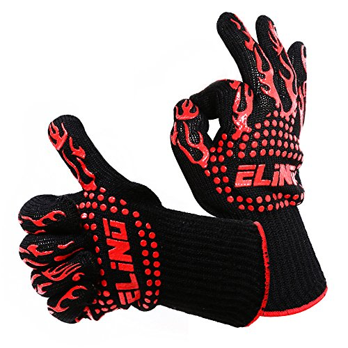 Heat Resistant Gloves, Perfect For Fireplace, BBQ, Fire Pit, Oven, Cooking, Protect Your Hands From Extreme Heat 932F°, Touch Coals Without Fear, 100% Cotton Inner, (1 Pair) ELINO's BONUS Hook Grip