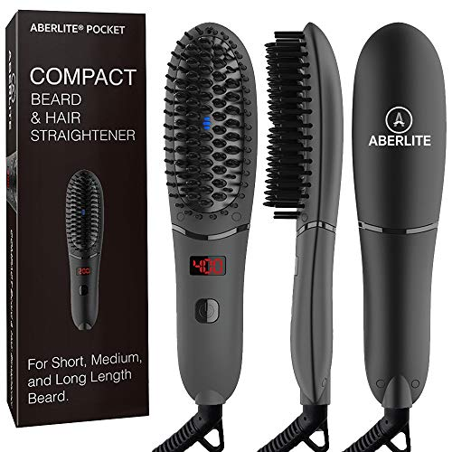 Aberlite Pocket – Compact Beard Straightener for Men – For All Beard Types – Beard Straightening Heat Brush Comb Ionic – For Home and Travel