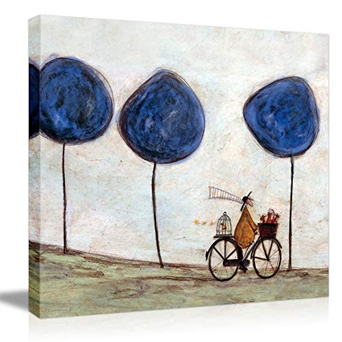 - Picabala Vintage Chinese Canvas Wall Art Painting Man on Bicycle Canvas Printed No Frame Decorative Picture HD Rustic Landscape Wall Oil Painting for Modern Home Office Decor-12