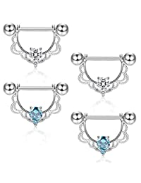 Subiceto 4Pcs 14G 316L Stainless Steel CZ Opal Nipple Piercing Barbell Belly Button Ring for Women
