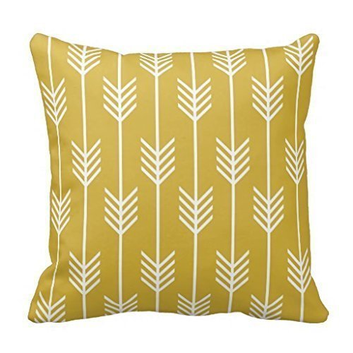 Modern Arrow Fletching Pattern Mustard Yellow Pillowcase 16 x 16 Inches (Mustard Yellow Throw Pillows)