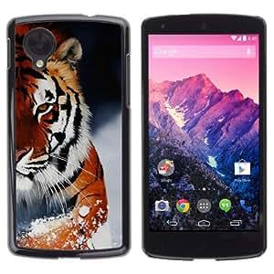 YOYOSHOP [Ferocious Snow Tiger ] LG Google Nexus 5 Case